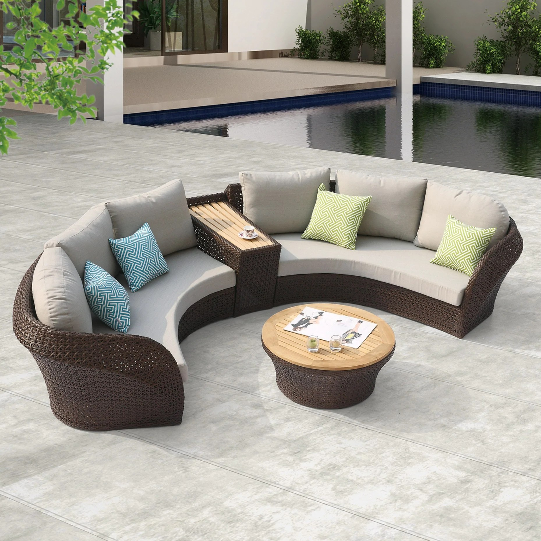 evian round sectional w center table