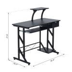 Portable Home Office Computer Desk With Keyboard Tray Black Betel Canada