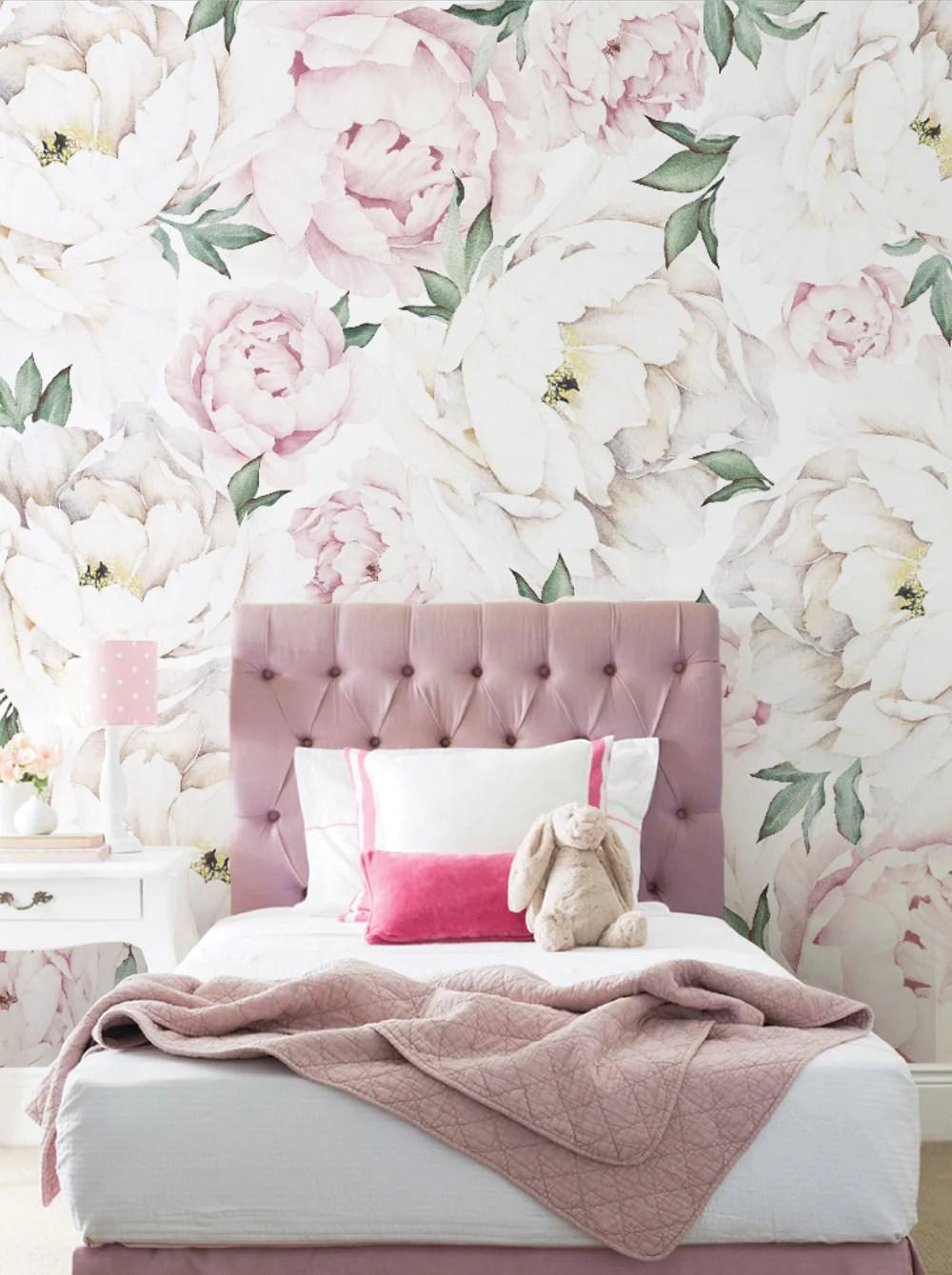 Peony Flower Mural Wall Art Wallpaper Peel And Stick