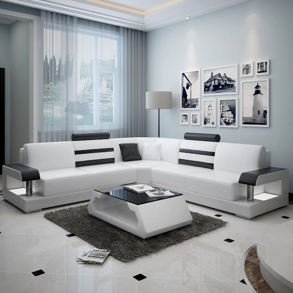 modern l shaped leather sofa
