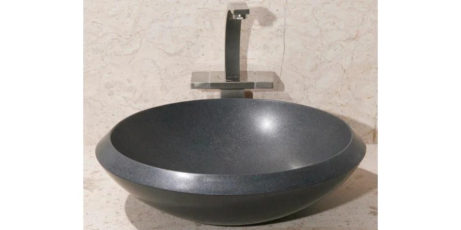 17 round black granite vessel sink