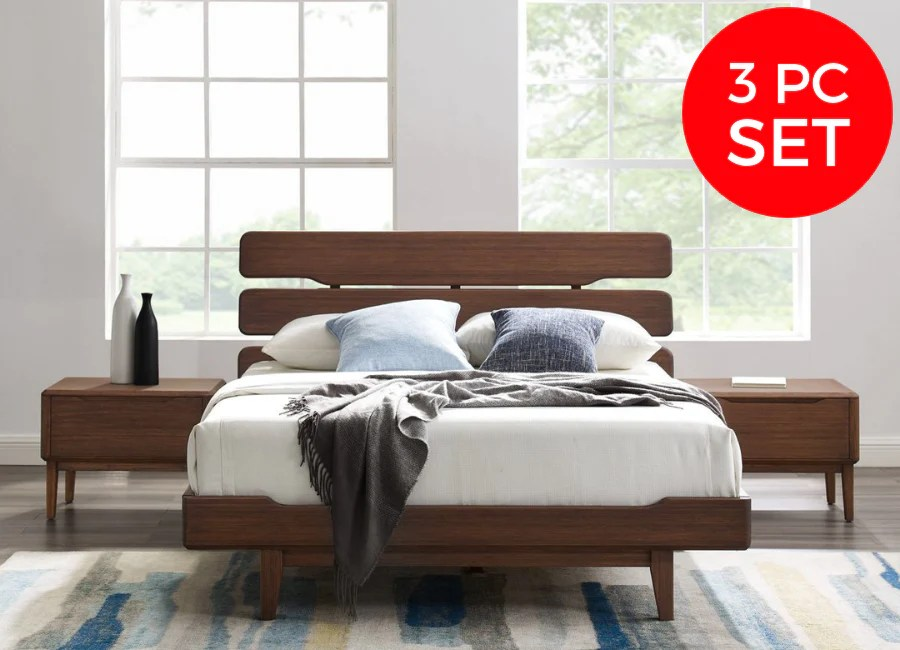 3pc greenington currant modern eastern king platform bedroom set includes 1 eastern king bed 2 nightstands