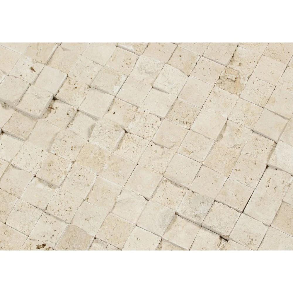 1 x 1 split faced ivory travertine mosaic tile