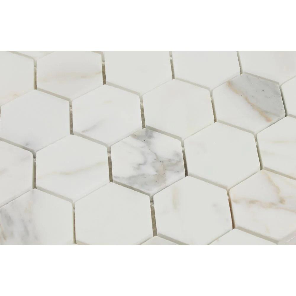2 x 2 honed calacatta gold marble hexagon mosaic tile