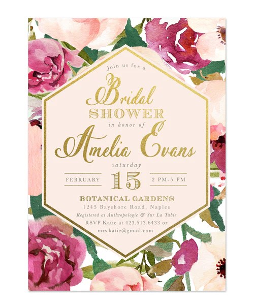 Blush And Gold Bridal Shower Invitations