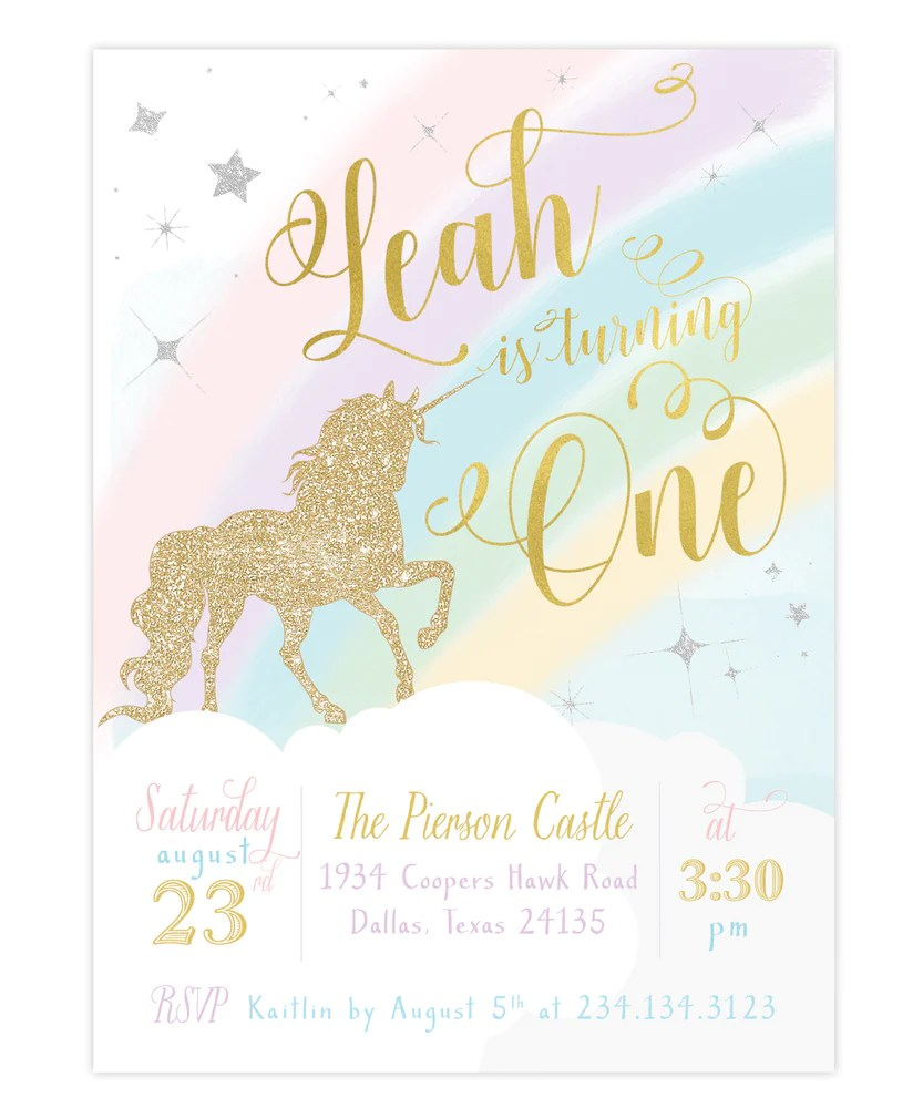 leah unicorn girl s 1st first birthday party invitation