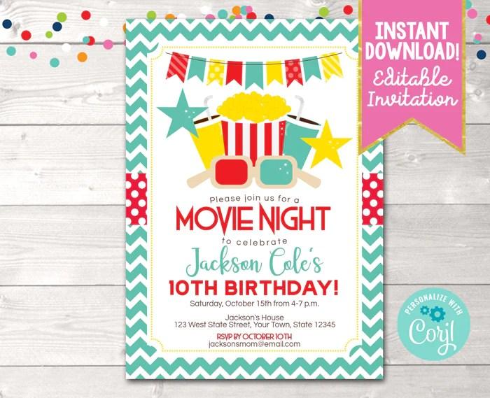 editable movie night birthday party invitation instant download digital file