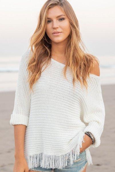 Women's Billie Fringe Top Cotton Sweater's | Wooden Ships Knits