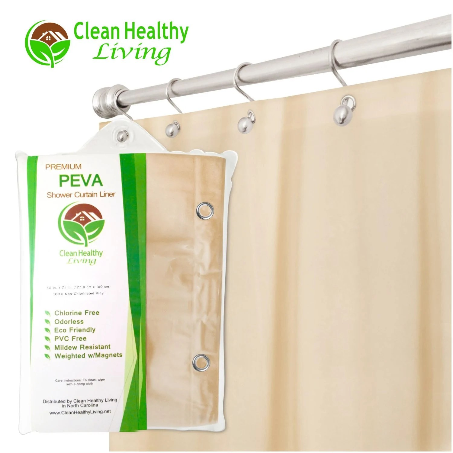 clean healthy living premium peva taupe shower curtain liner with magnets suction cups 70 x 71 inches long