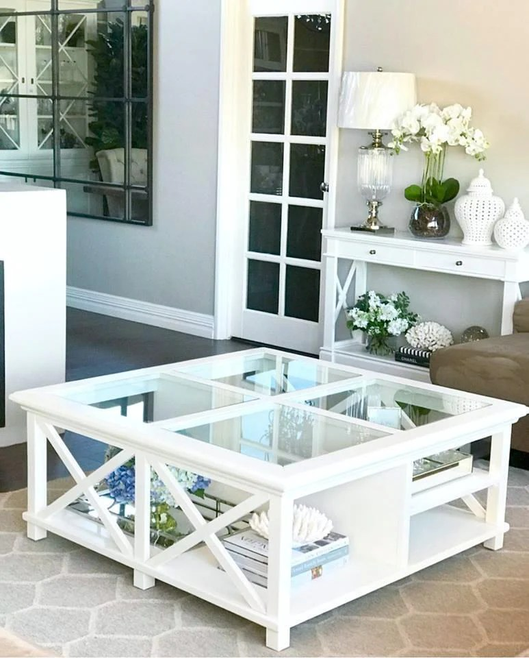 newport square coffee table in white