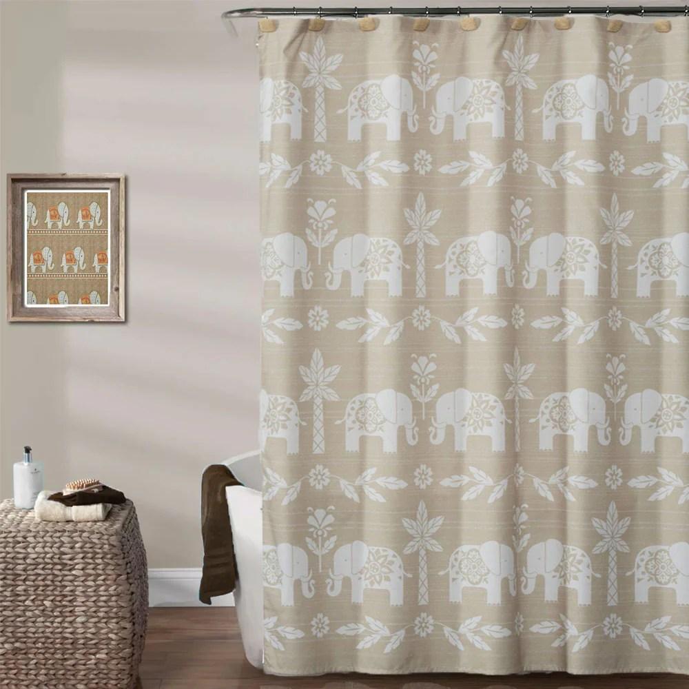 elephant walk fabric shower curtain