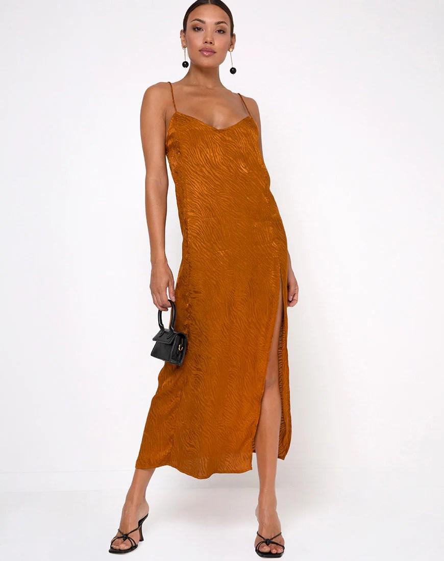 Batis Maxi Dress in Satin Zebra Golden Coral by Motel 4
