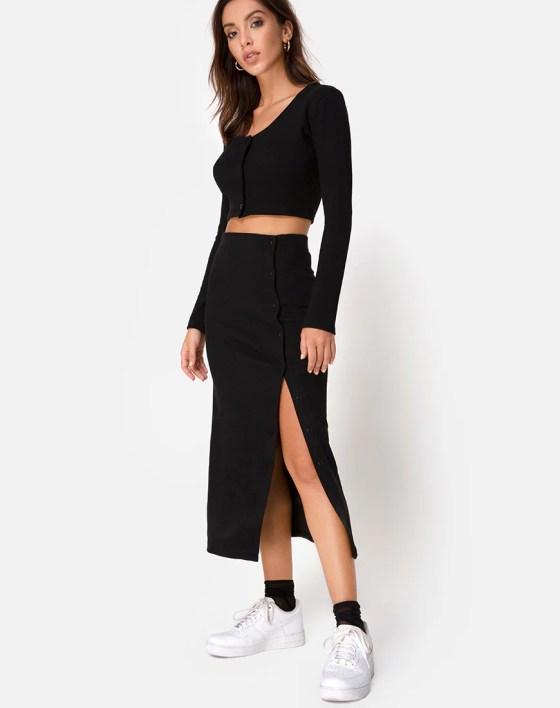 Bobbin Midi Skirt in Black Rib by Motel 4