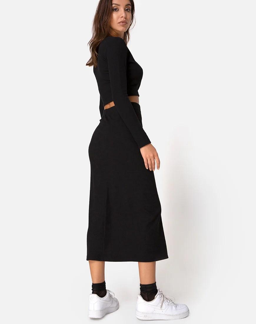 Bobbin Midi Skirt in Black Rib by Motel