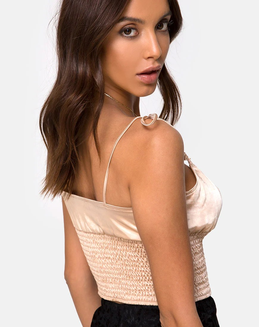 Cemara Top in Satin Champagne by Motel