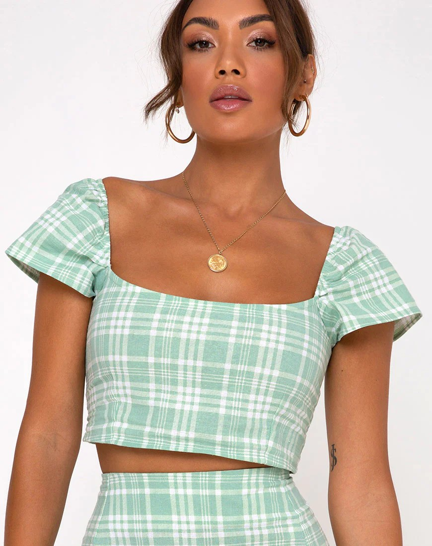 Cindy Crop Top in Table Cloth Neo Mint by Motel 11