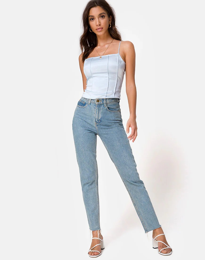 Cosey Top in Satin Powder Blue by Motel
