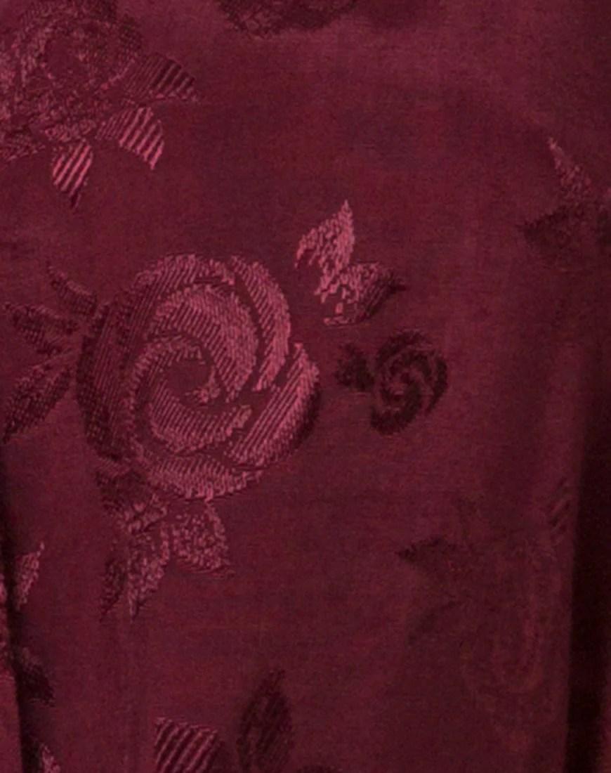 Crosena Swing Dress in Satin Burgundy Rose by Motel