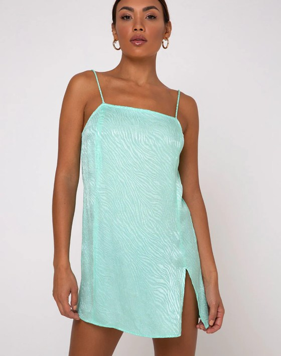 Datista Slip Dress in Zebra Aquamarine by Motel 9