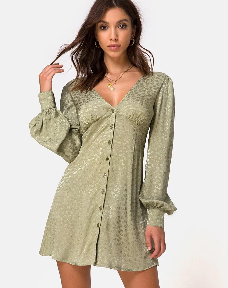 Flara Longsleeve Dress in Satin Ditsy Rose Sage by Motel