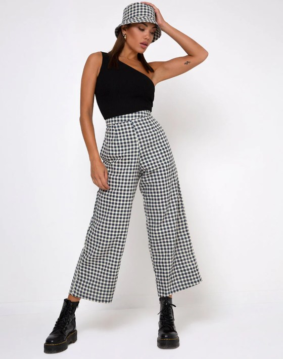Gamila Culotte Trouser in Gingham Cream by Motel 4