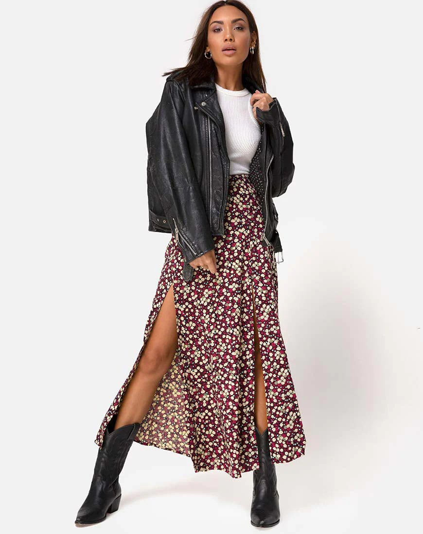 Mica Maxi Skirt in Floral Field Plum by Motel 6