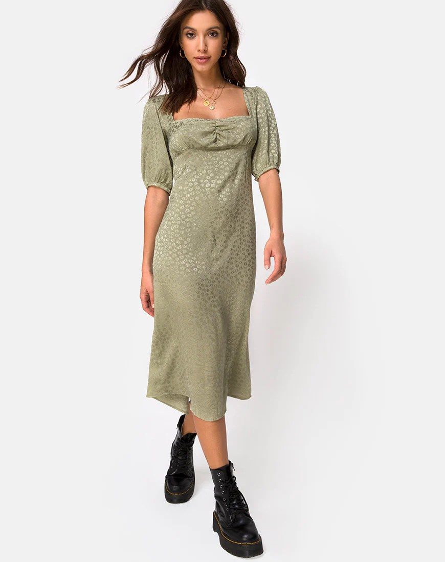 Millo Midi Dress in Satin Ditsy Rose Sage by Motel