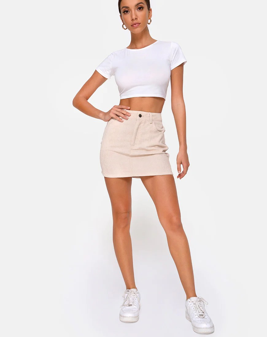 Mini Broomy Skirt in Cord Stone by Motel