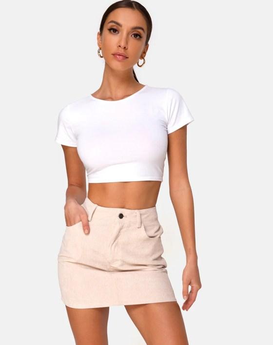 Mini Broomy Skirt in Cord Stone by Motel 2