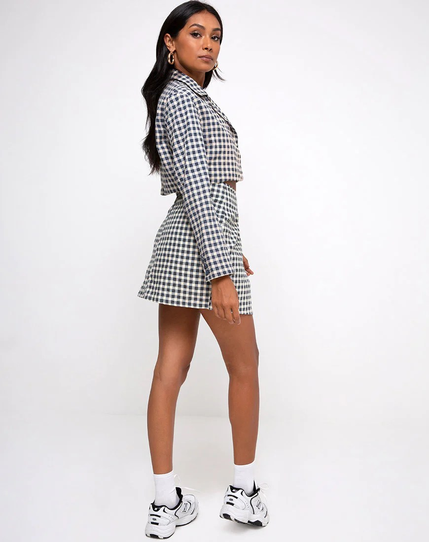 Noly Cropped Blazer in Gingham Cream by Motel