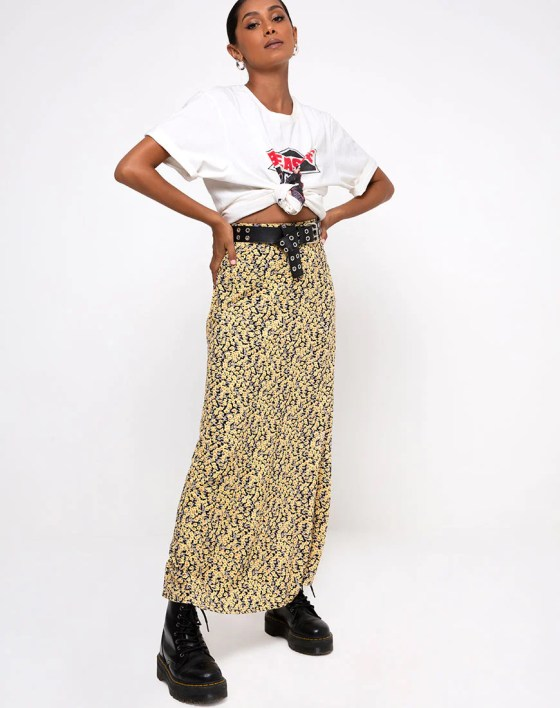 Sayan Skirt in Mini Bloom Yellow by Motel 44
