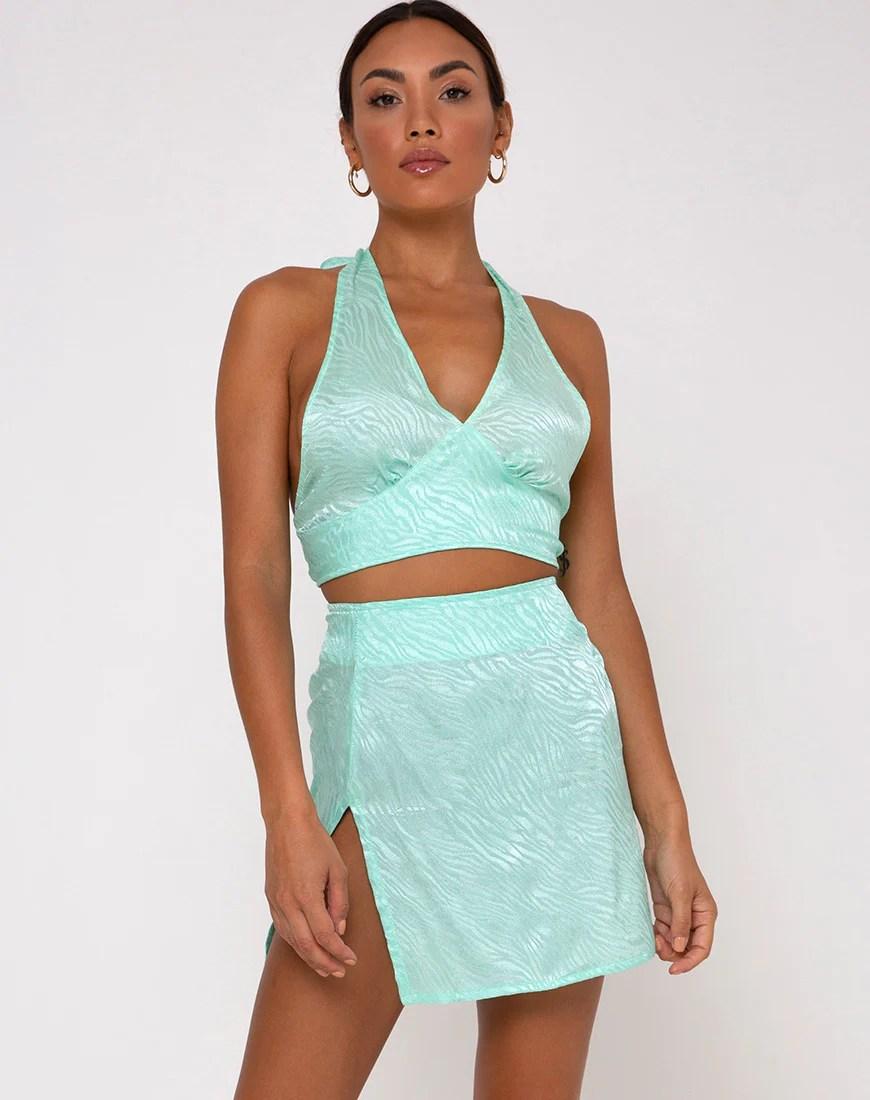 Shenka Mini Skirt in Zebra Aquamarine by Motel 7