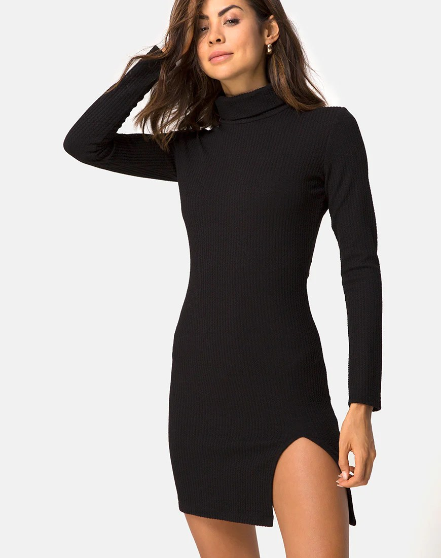 Valda Dress in Rib Black By Motel 1