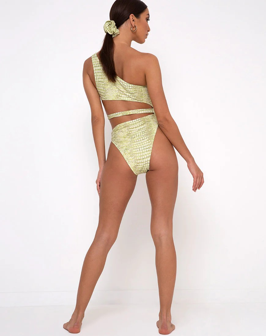 Vixie Cutout Swimsuit in Croc Green by Motel