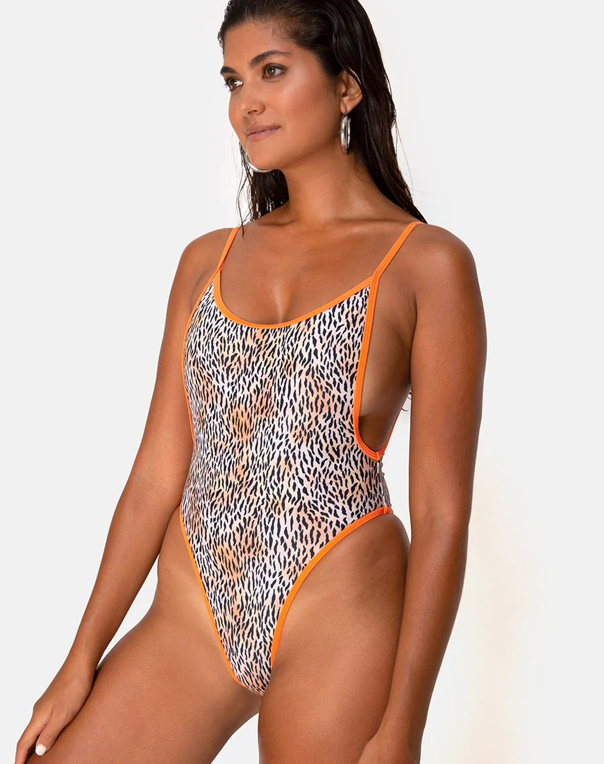 Arines Swimsuit in Mini Tiger with Orange Binds by Motel 6