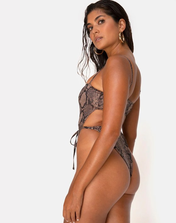 Hiwa Swimsuit in Snake Taupe by Motel 5