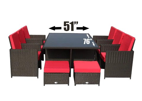 el patio brown with red cushions 11pcs outdoor dining dinner patio furniture set aluminum frame