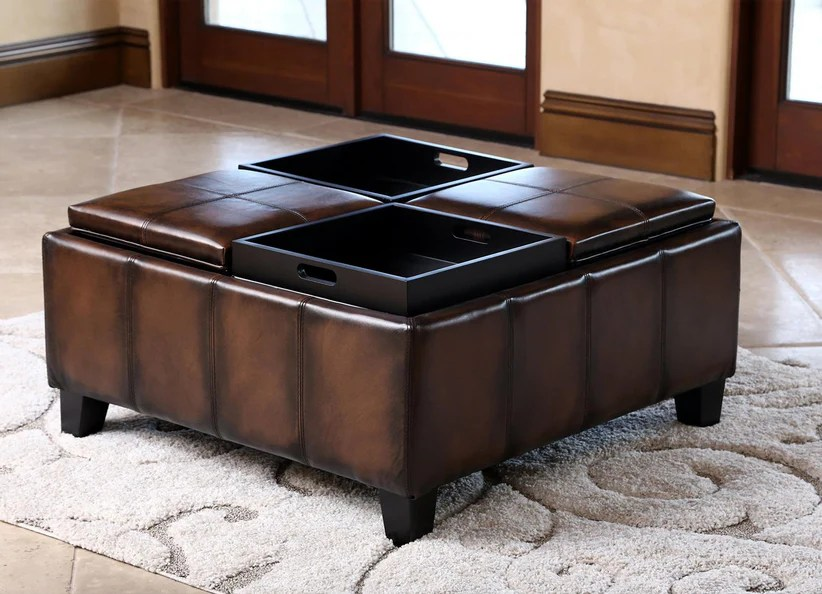 brown leather square coffee table ottoman