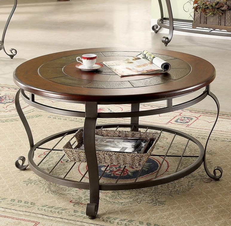 round coffee table wooden slate top metal base