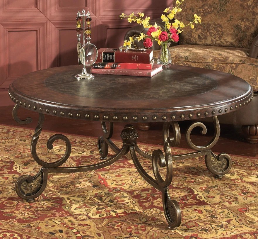 brown round coffee table