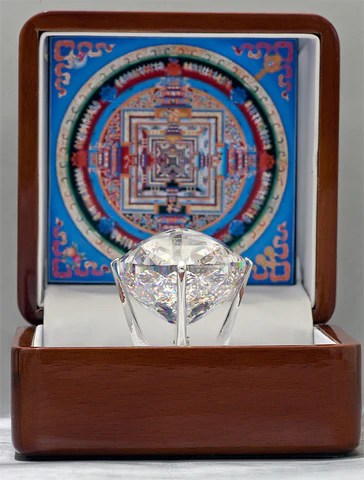 The Kalachakra Mandala Gemstone, a Cubic Zirconia of 536 carats featuring 722 facets gifted to His Holiness Dalai Lama XIV - Photo by Sergey Pryanechnikov