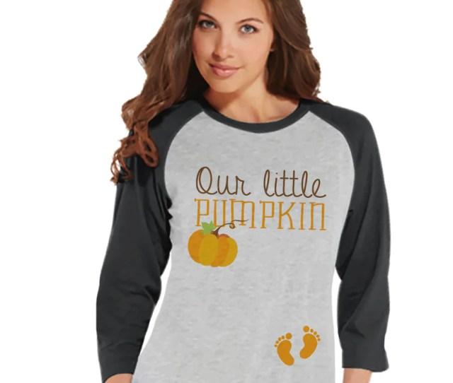 Halloween Pregnancy Announcement Our Little Pumpkin Pregnancy Reveal Tshirt Halloween Pregnancy Shirt Grey