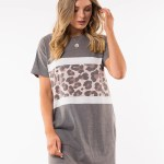 All About Eve Clothing LEOPARD PANEL TEE DRESS - BLACK