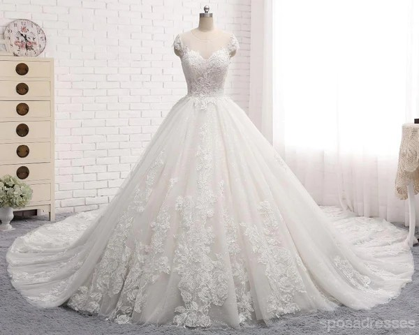 Sexy Open Back Cap Sleeve Long Tail Lace Wedding Bridal