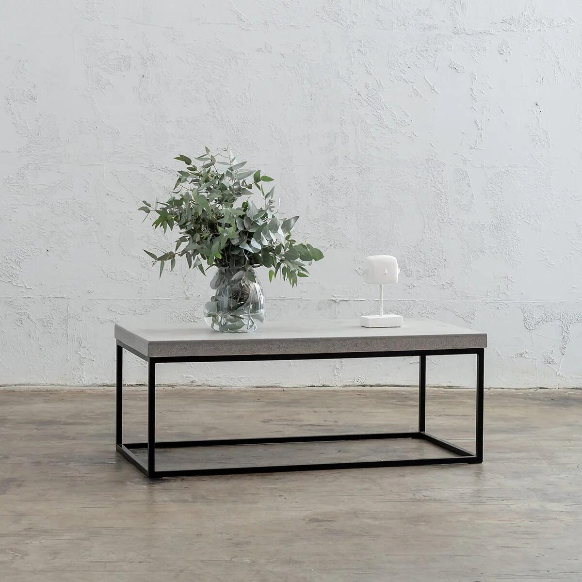 aria concrete granite rectangle coffee table zinc ash