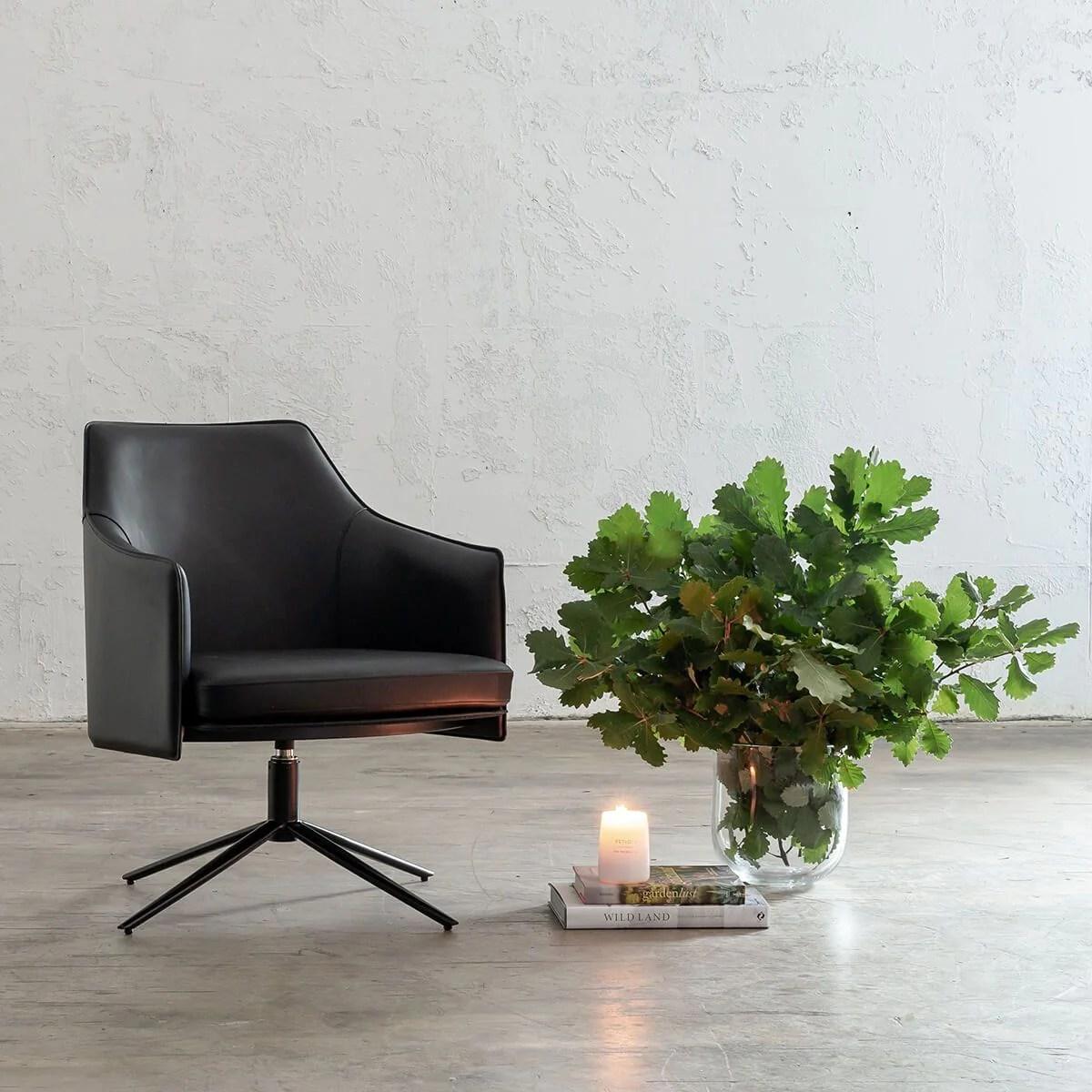 Bolina Mid Century Vegan Leather Swivel Arm Chair Noir Black Leather Office Chair