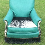 Sold Teal Cowhide Leather Accent Chair Red Dirt Revivals