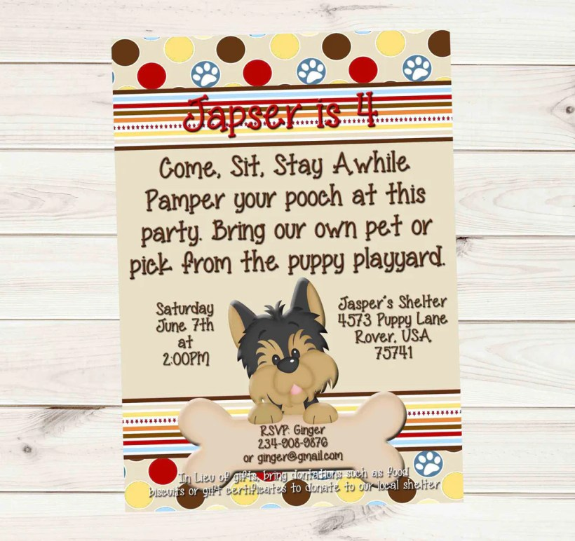 Puppy Dog Birthday Party Donation Invitation For Boys Or Girls Custom Order Invites And
