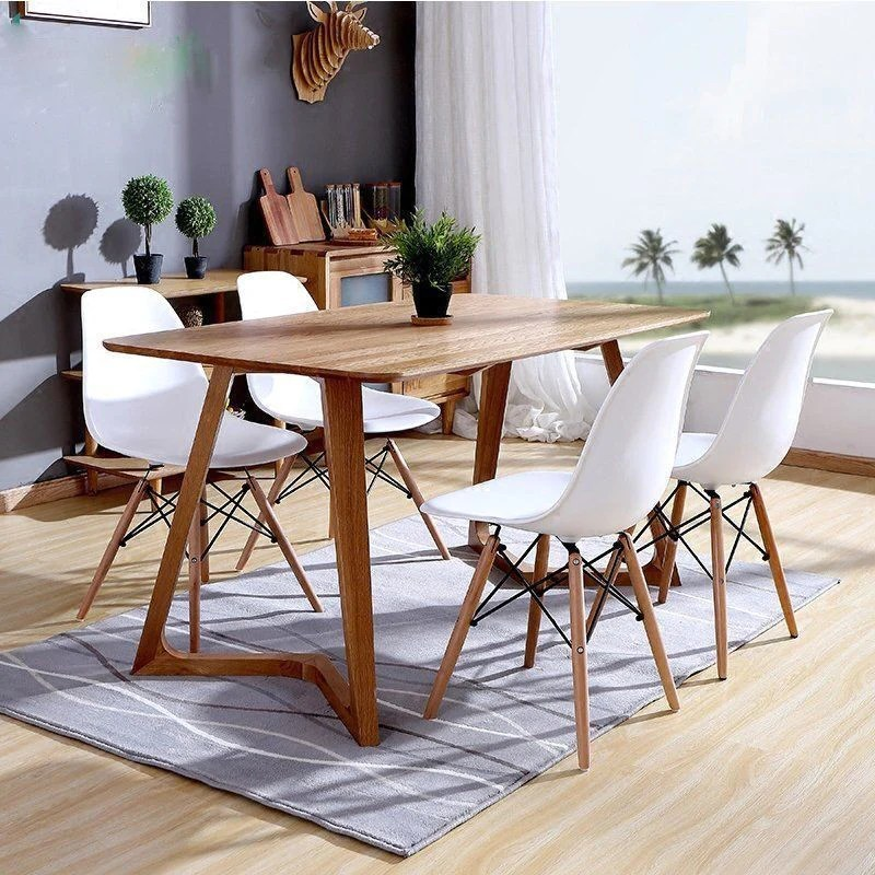Set Of 4 Eames Style Wood Chairs White Bothy Blue