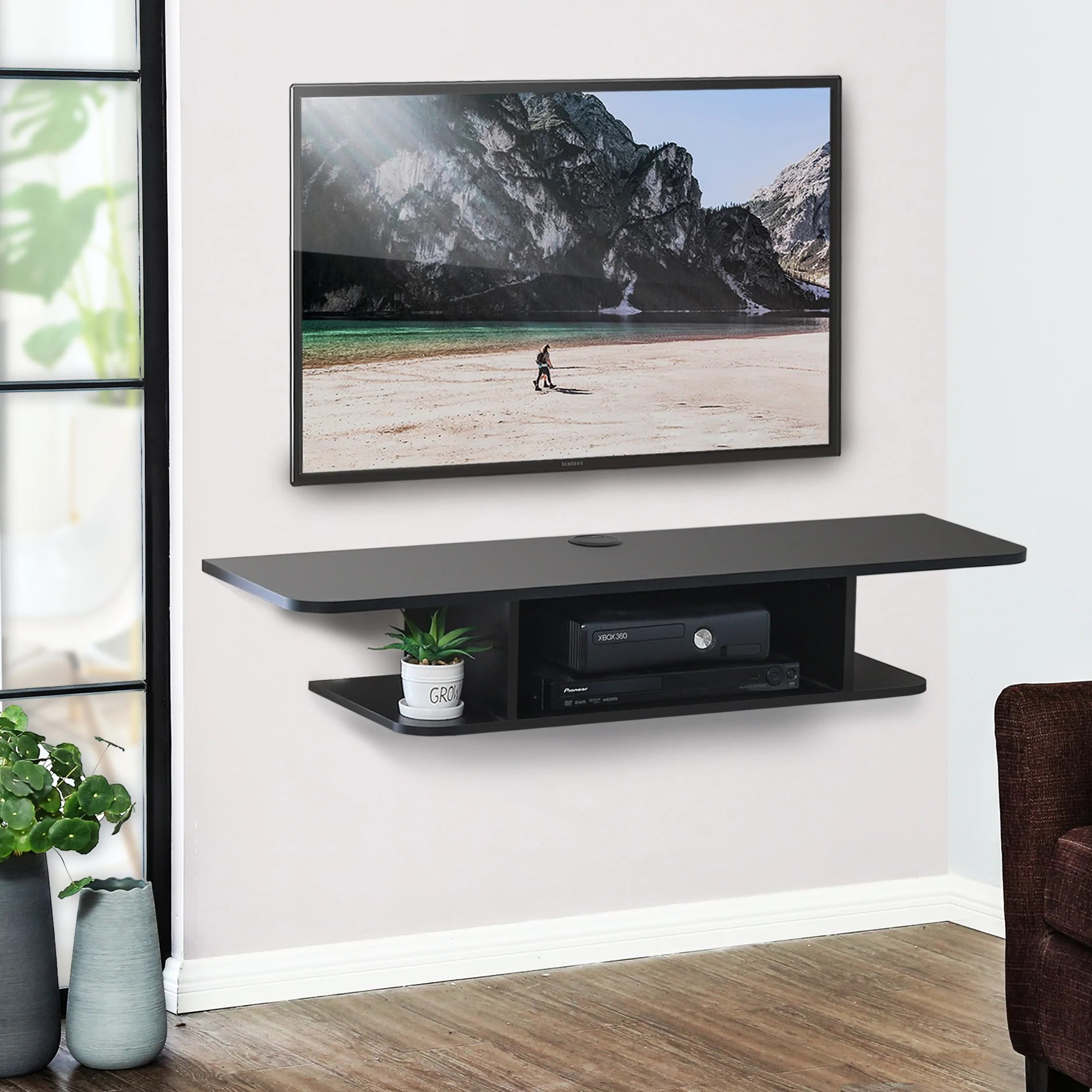 Fitueyes Wall Mounted Media Console Floating Tv Stand Component Shelf Black Ds210501wb